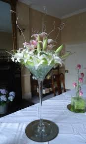 Martini Glass Vase Flower Arrangement Wedding Reception Flowers A Way With Flowers Pembrokeshire