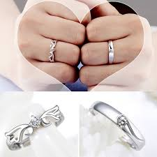 couple rings silver images Silver lovers crystal couple ring her and his promise ring set jpg