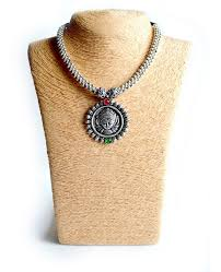 silver jewellery necklace sets images Silver oxidized jewelry sets necklace earrings nosepin handmadewale jpg