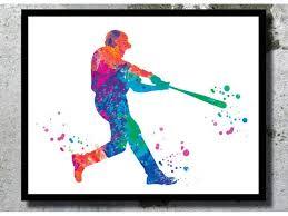 art print baseball player watercolor sport poster softball poster