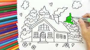 how to draw and color a house for kids easy bodraw youtube