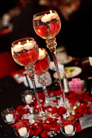 red black white wedding center pieces candle holders on mirrors