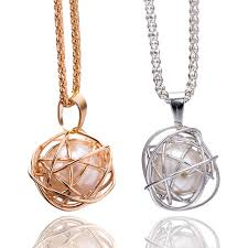 new necklace charms images New arrivals golden silver round twisted imitation pearl cage jpg