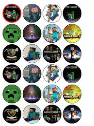minecraft edible cake topper 24 x minecraft edible wafer paper cup cake top toppers
