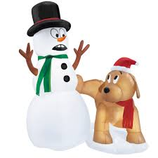 trim a home 4 u0027 airblown snowman and dog