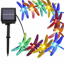 solar powered outdoor string lights dragonfly 30 leds starry