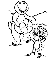 barney baby bop playing ball barney friends colouring