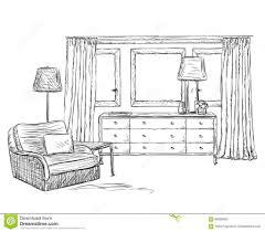 room interior sketch window furniture hand drawn surripui net