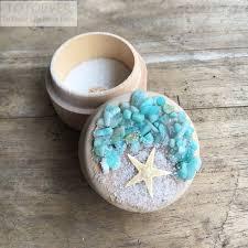 Customized Wedding Gift Sand Starfish Beach Rustic Wedding Ring Box Bearer Personalized