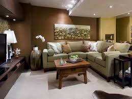 basement living room designs with brown walls and wall and