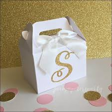 favor boxes personalized gold glitter initial mini gable party favor boxes