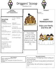 thanksgiving newsletter weekly newsletter mrs driggers u0027 2nd grade class