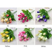 Tulip Bouquets Aliexpress Com Buy 15 Heads Silk Tulip Bouquets Flowers With