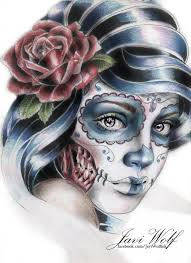 javi wolf design a nice catrina face and rose tattoo