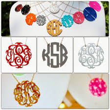 monogram necklace acrylic auction moon and lola acrylic monogram necklace in block or