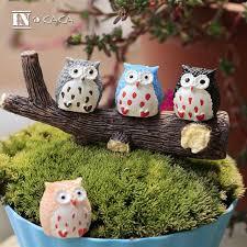 anime mini birds owls home decor animal moss terrarium ornament