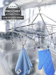 pro chef kitchen tools stainless steel hanging drying rack rectangle