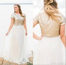 sequined wedding dress discount 2018 bling gold sequined wedding dresses vintage two