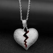 rope necklace pendant images Iced out broken heart necklace pendant cubic zirconia gold silver jpg
