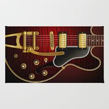 Maple Rugs Electric Guitar Es 335 Flamed Maple Rug By Pepetto Society6