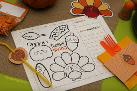 thanksgiving worksheet placemats pink polka dot creations
