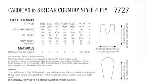 country style 4ply 7727 cardigan knitting pattern