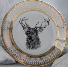 gold deer reindeer platese dishes customized lenox