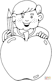 boy with a huge apple coloring page free printable coloring pages