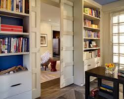 interior of home office with sliding door also under stair office