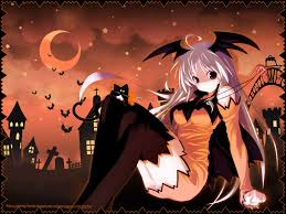 orange black halloween background anime halloween anime halloween wallpapers holidays