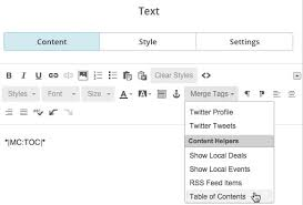 add a table of contents to a campaign mailchimp