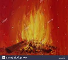 an oil painting on canvas of a bright burning fire in a fireplace