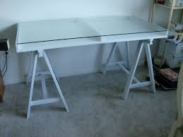 Office Table With Glass Top Sawhorse Desk With Glass Top Best Home Furniture Decoration