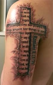 memorial 3d cross tattoo on half sleeve tattooshunt com