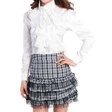 shirt high neck ruffle front vintage frilly blouse womens top size