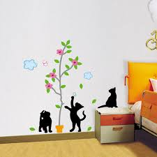 trees cat wall decals how to make cat wall decals inspiration image of flower cat wall decals