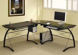 Computer Glass Desks For Home Modern Home Office Glass Desk Metal And Desks Saratoga Black