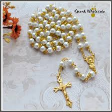 gold cross rosary necklace images Mix usd12 free shipping golden chain white 8mm capped pearl jpg