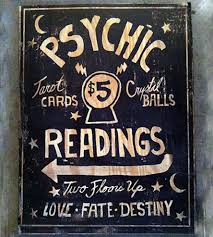psychic readings wood sign art pieces old dirty type