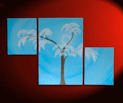 blue and white painting aspen tree painting modern abstract triptych art huge original