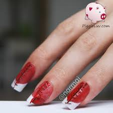 piggieluv bloody stitches nail art for halloween