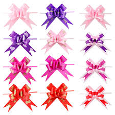 bows and ribbons 10 pcs heart print pull bows ribbon party wedding decoration