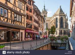 colmar scenic picturesque town at the scenic route of vine stock