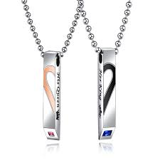 couples necklace wholesale stainless steel herat couples necklace set jc fashion jewelry