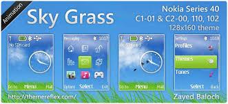 themes nokia c2 mobile sky grass animated theme for nokia 110 112 c1 01 128 160