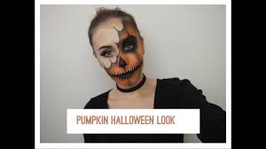 half halloween makeup half pumpkin halloween makeup look youtube