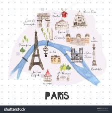 Map Paris France by Hand Drawn Watercolor Paris Map With Famous Landmarks Stock Photo