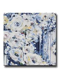 original art abstract painting floral navy blue white flowers wall