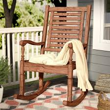 Patio Rocking Chairs Wood Imene Solid Acacia Wood Patio Rocking Chair Reviews Joss