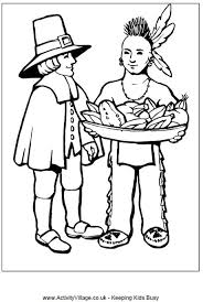 pilgrim and indian colouring page thanksgiving activities for